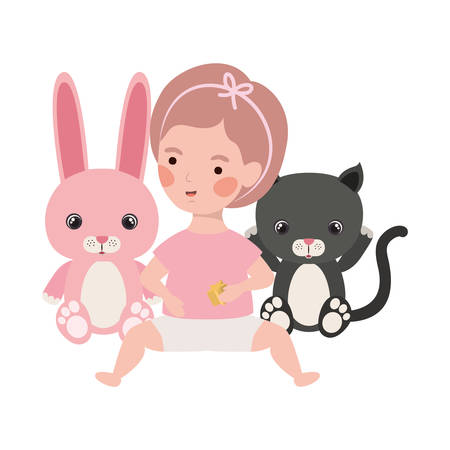 cute little girl baby with stuffed rabbit and cat character vector illustration design