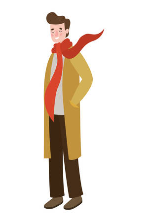 man walking with autumn suit character vector illustration design