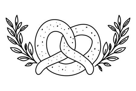 delicious pretzel with wreath crown bakery food icon vector illustration design
