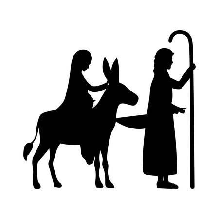 Joseph und Maria Jungfrau in Maultier Silhouetten Krippe Charaktere Vektor-Illustration Vektorgrafik