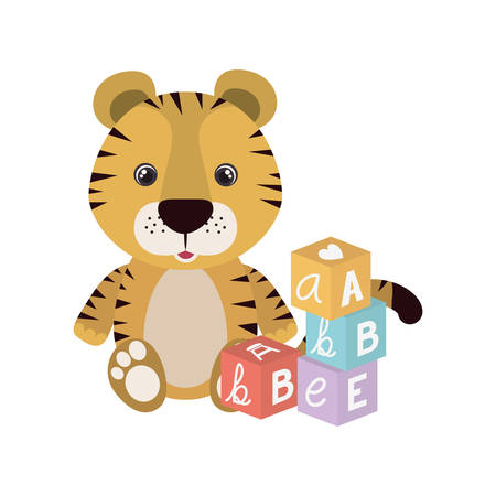 cute little tiger with blocks toys character vector illustration design Vectores