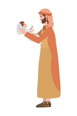 saint joseph lifting jesus baby manger characters vector illustration design Ilustrace