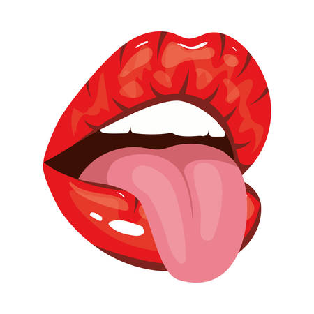 sexy woman mouth with tongue pop art style vector illustration design