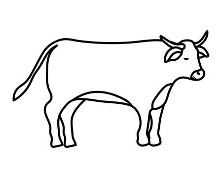 cute ox manger animal character vector illustration design
