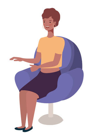 young afro woman seated in salon chair vector illustration design