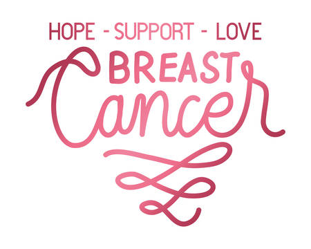 breast cancer campaign calligraphy lettering vector illustration design Ilustrace