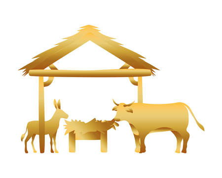 golden manger ox and mule with cradle in wooden stable vector illustration