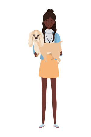 young afro woman lifting cute dog mascot characters vector illustration design Vektorové ilustrace