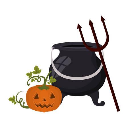 halloween pumpkin with face and cauldron vector illustration design Standard-Bild - 133053500