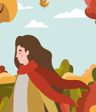 woman walking with autumn suit in the park vector illustration design