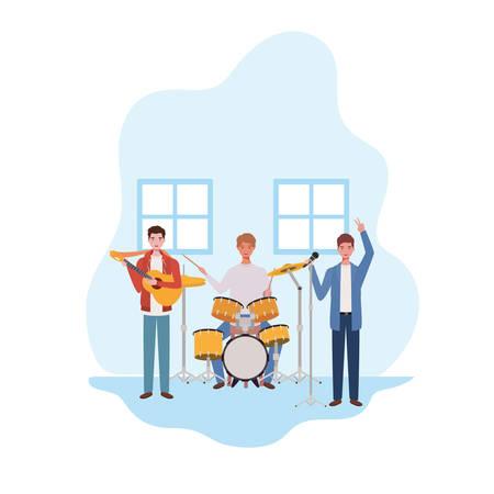 men with musicals instruments in living room vector illustration design Ilustrace