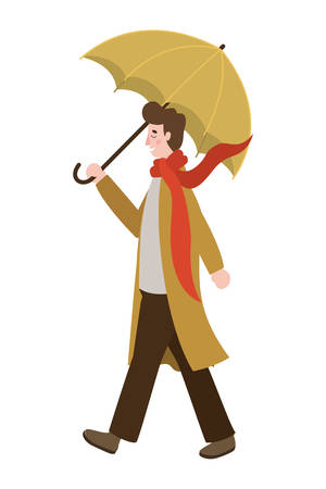 man walking with autumn suit and umbrella character vector illustration design Ilustrace