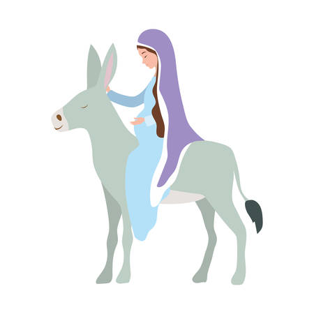 mary virgin with mule characters vector illustration design Illustration