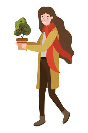 woman with autumn suit and houseplant character vector illustration design Ilustrace