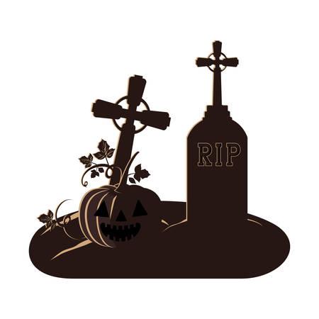 halloween celebration with pumpkin in cemetery scene vector illustration design