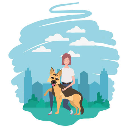 young woman with cute dog in the field vector illustration design Vektorové ilustrace