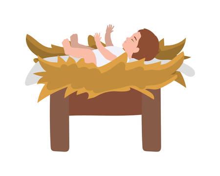 jesus christ baby in cradle manger character vector illustration design Stock Illustratie