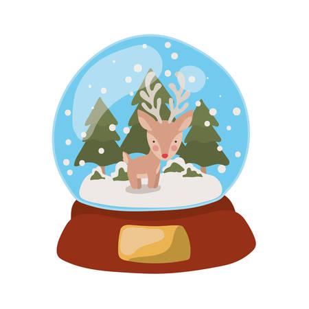 merry christmas crystal ball with little reindeer vector illustration design