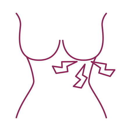 breast cancer woman body with pain rays vector illustration design Illustration