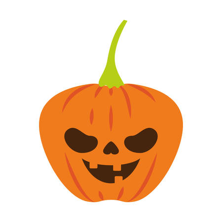 halloween pumpkin with dark face vector illustration design Standard-Bild - 133063278