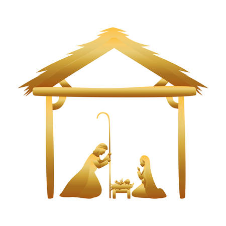 golden joseph and mary virgin in stable manger characters vector illustration