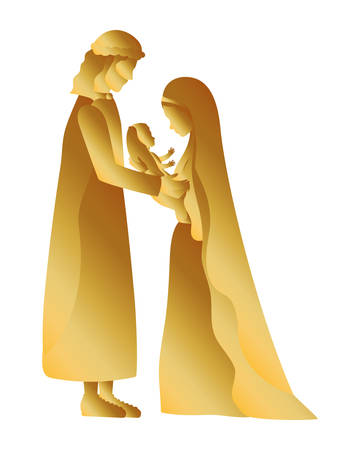 golden holy family manger characters vector illustration design