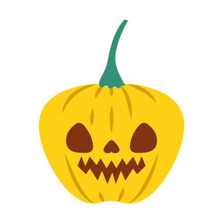 halloween pumpkin with dark face vector illustration design Standard-Bild - 133065424
