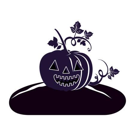 halloween pumpkin with face scene vector illustration design Standard-Bild - 133065242
