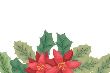 beauty christmas flowers and branch decorative frame vector illustration design Ilustrace