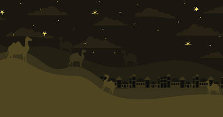 manger houses cityscape and camels night scene vector illustration design