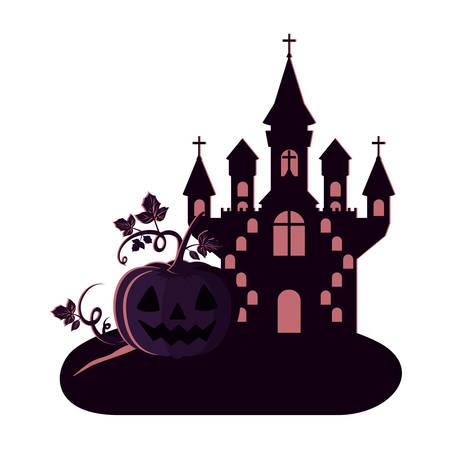 Halloween dunkles Schloss mit Kürbisszenensymbol-Vektorillustrationsdesign Vektorgrafik