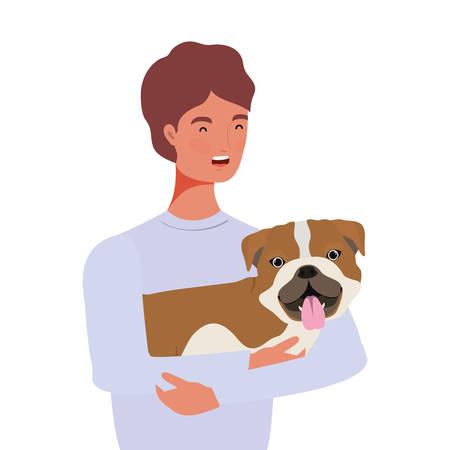 young man lifting cute dog mascot characters vector illustration design