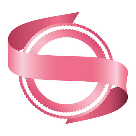 breast cancer campaign ribbon with seal vector illustration design Ilustrace