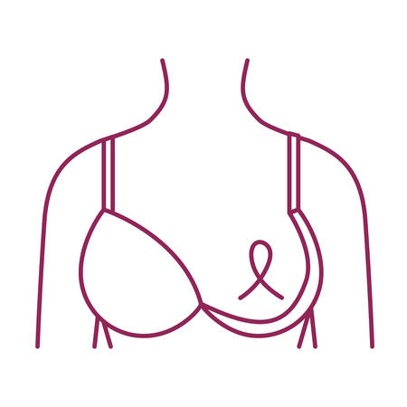 breast cancer woman body with ribbon and bra vector illustration design