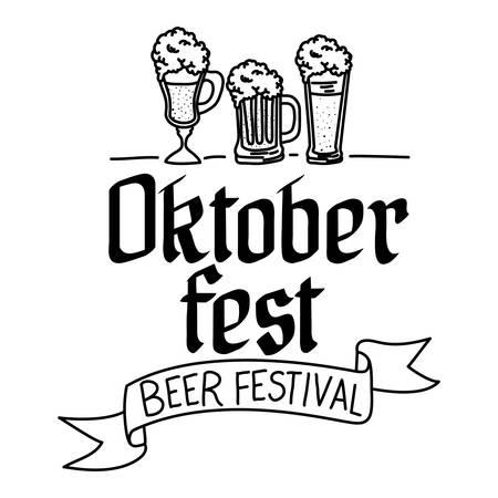 beers glasses and calligraphy oktoberfest celebration vector illustration design Stock Illustratie
