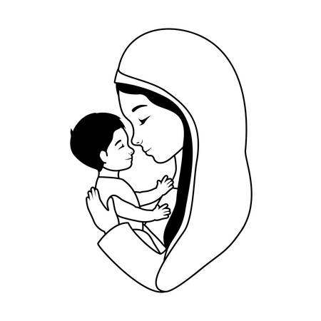Maria Jungfrau hebt Jesus Baby Charaktere Vektor-Illustration Design an Vektorgrafik