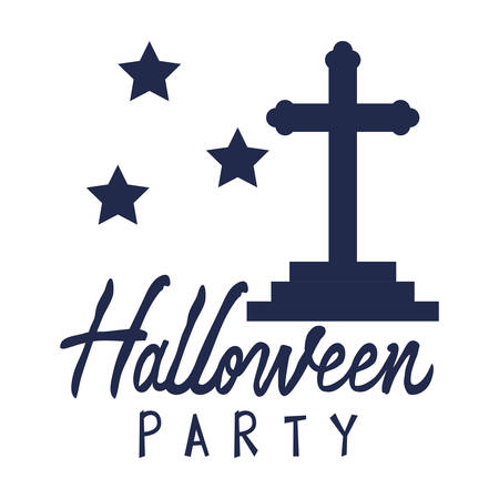 cemetery cross with halloween party message vector illustration design
