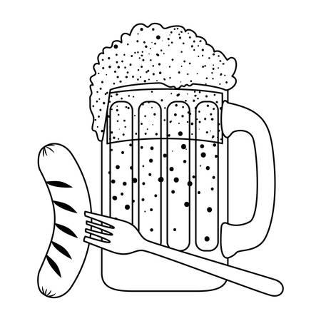 beer jar with sausage oktoberfest celebration icon vector illustration design