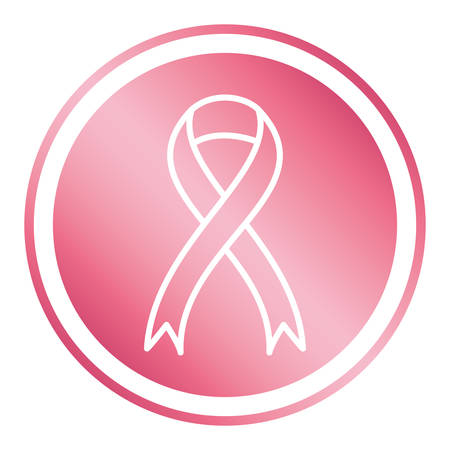 breast cancer campaign ribbon in circular frame vector illustration design Ilustrace