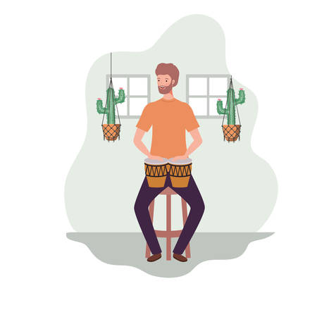 young man with congasand houseplants on macrame hangers of background vector illustration design