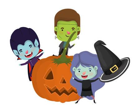 Calabaza de Halloween con personajes de disfraces para niños, diseño de ilustraciones vectoriales