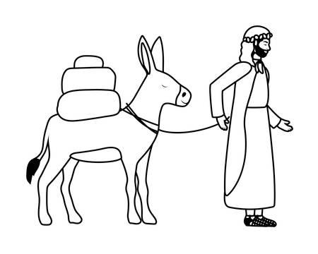 San José con mula pesebre personajes, diseño de ilustraciones vectoriales Ilustración de vector