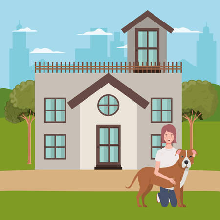 young woman with cute dog outdoor of house vector illustration design