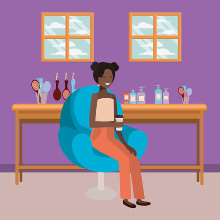 young afro woman seated in salon chair drinking beverage vector illustration design Ilustração