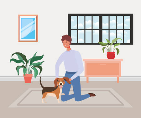 young man with cute dog mascot in the house room vector illustration design Vektorové ilustrace