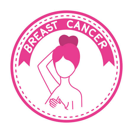 breast cancer campaign ribbon with woman vector illustration design