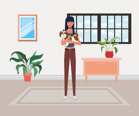 young woman lifting cute dog in house room vector illustration design
