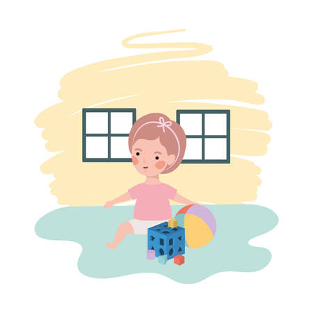 cute little girl baby with balloon toy character vector illustration design Çizim