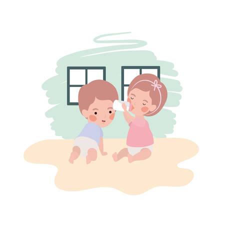 cute little kids babies with milk bottle characters vector illustration design Çizim