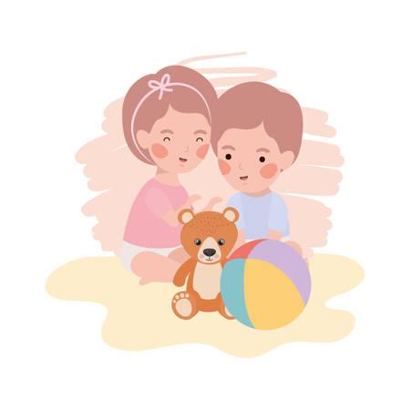 cute little kids babies with bear teddy toys vector illustration design